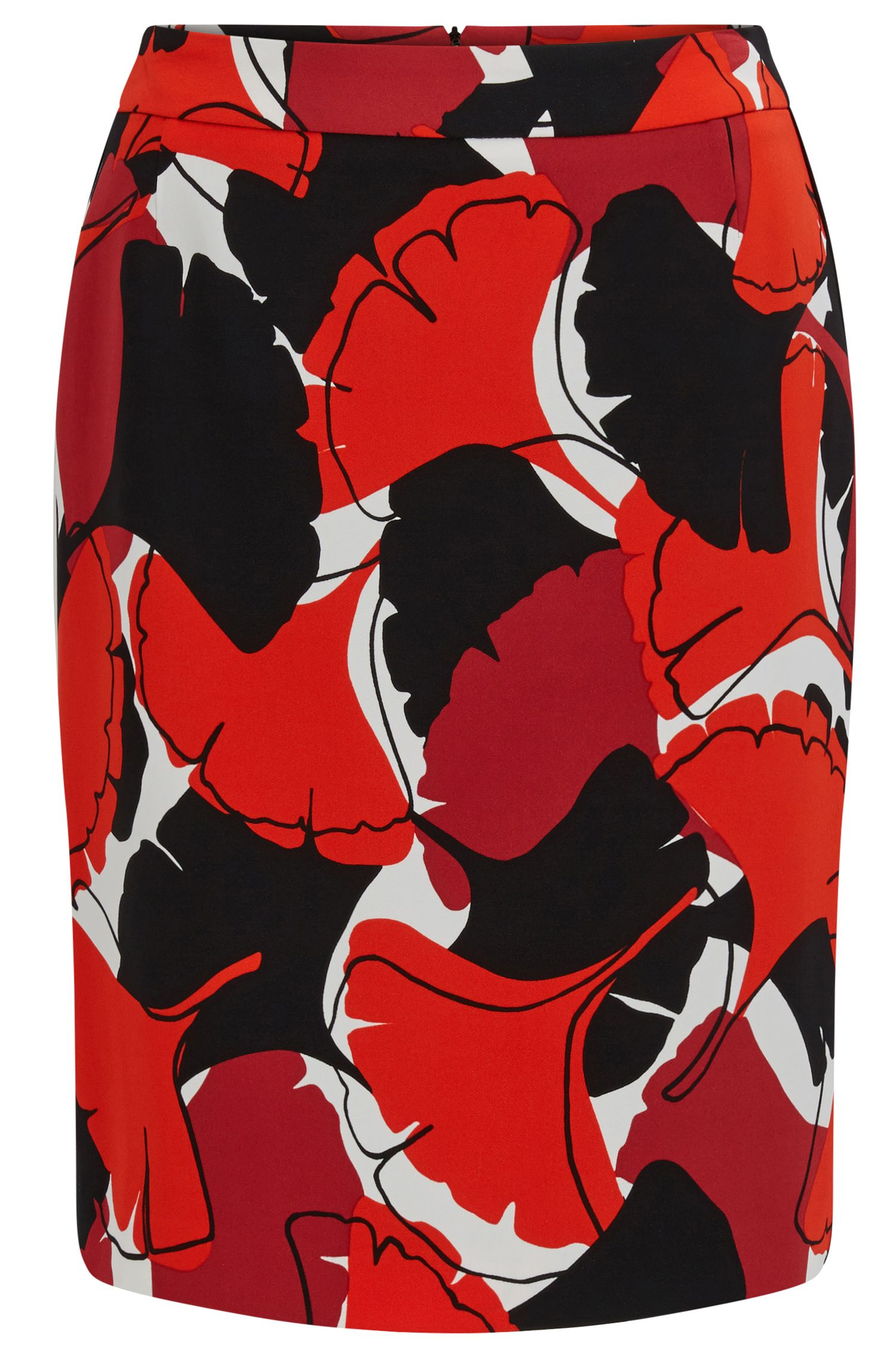 Ginkgo-Print Stretch Viscose Skirt | Vakuja