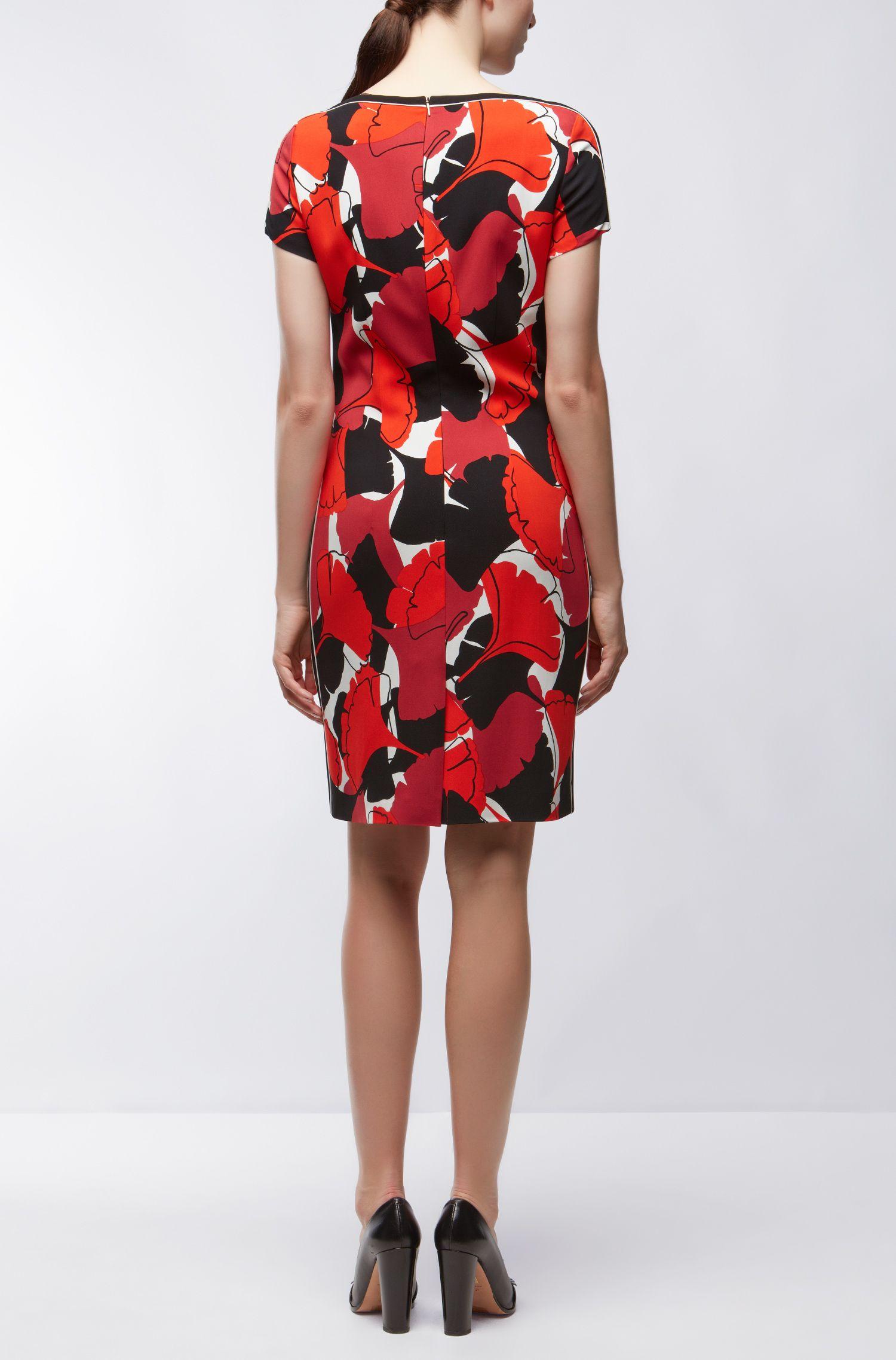Gingko Print Stretch Viscose Sheath Dress | Dakuja, Patterned