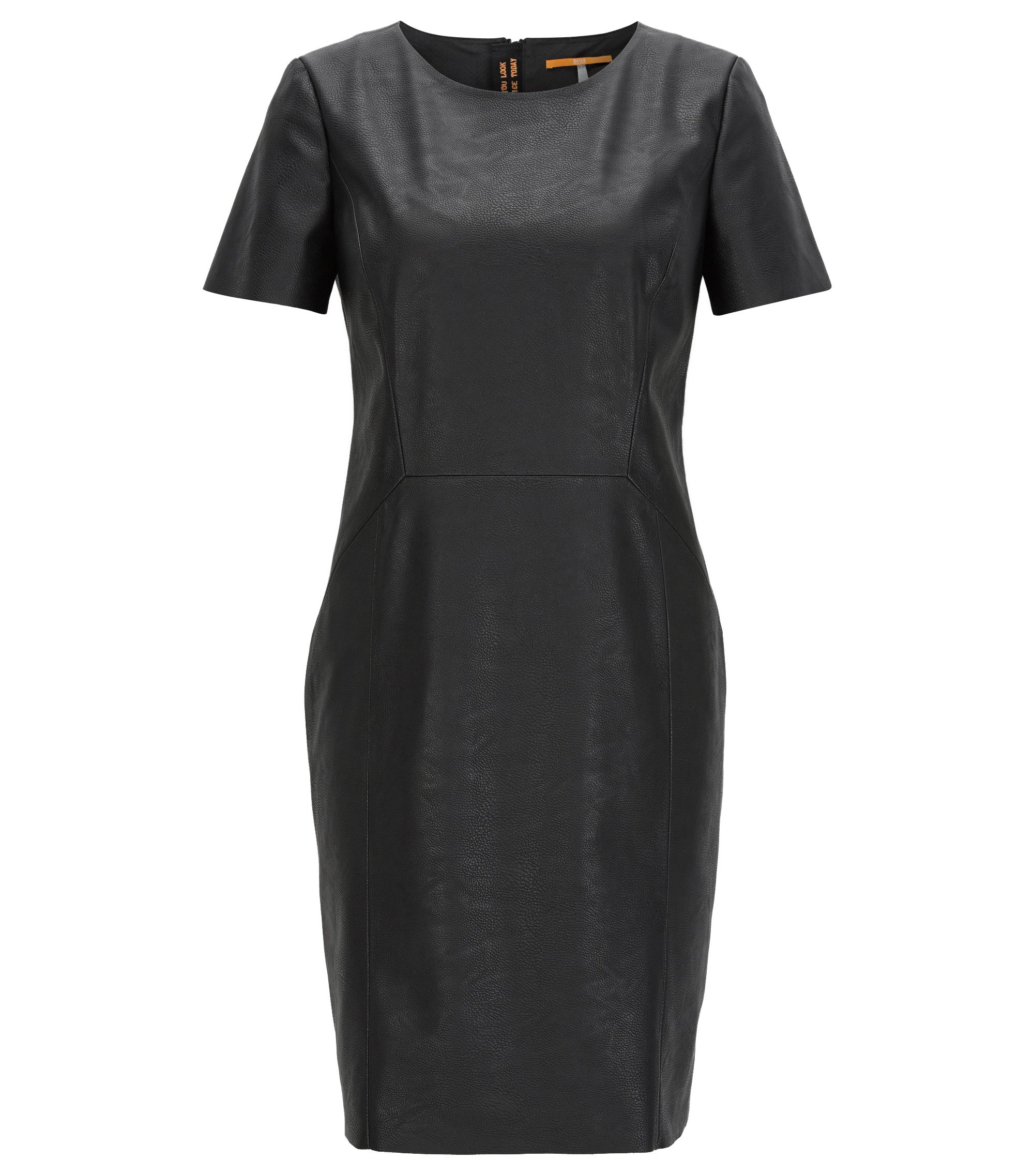 Faux Leather Sheath Dress   Aledy, Black