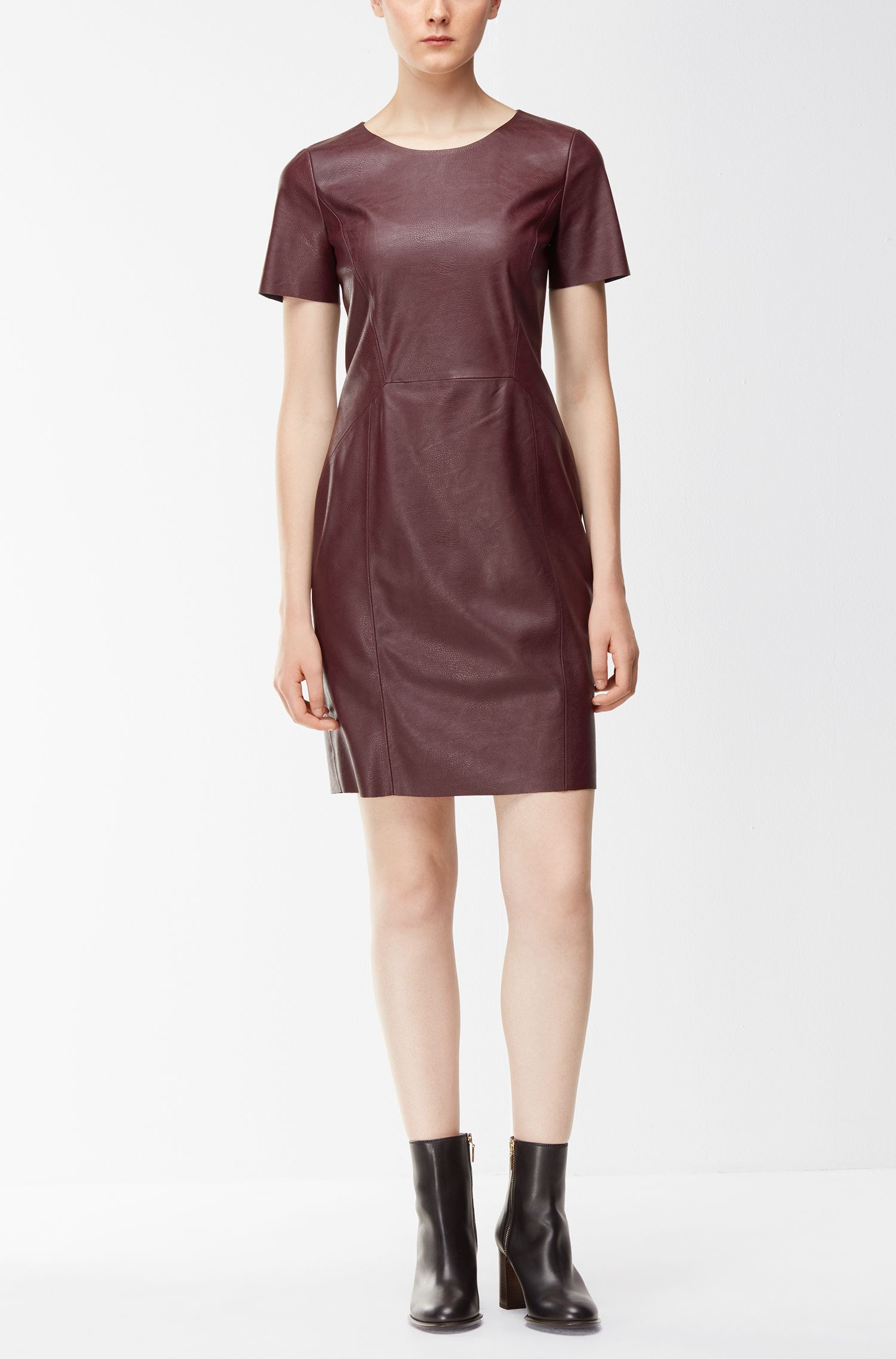 Faux Leather Sheath Dress | Aledy