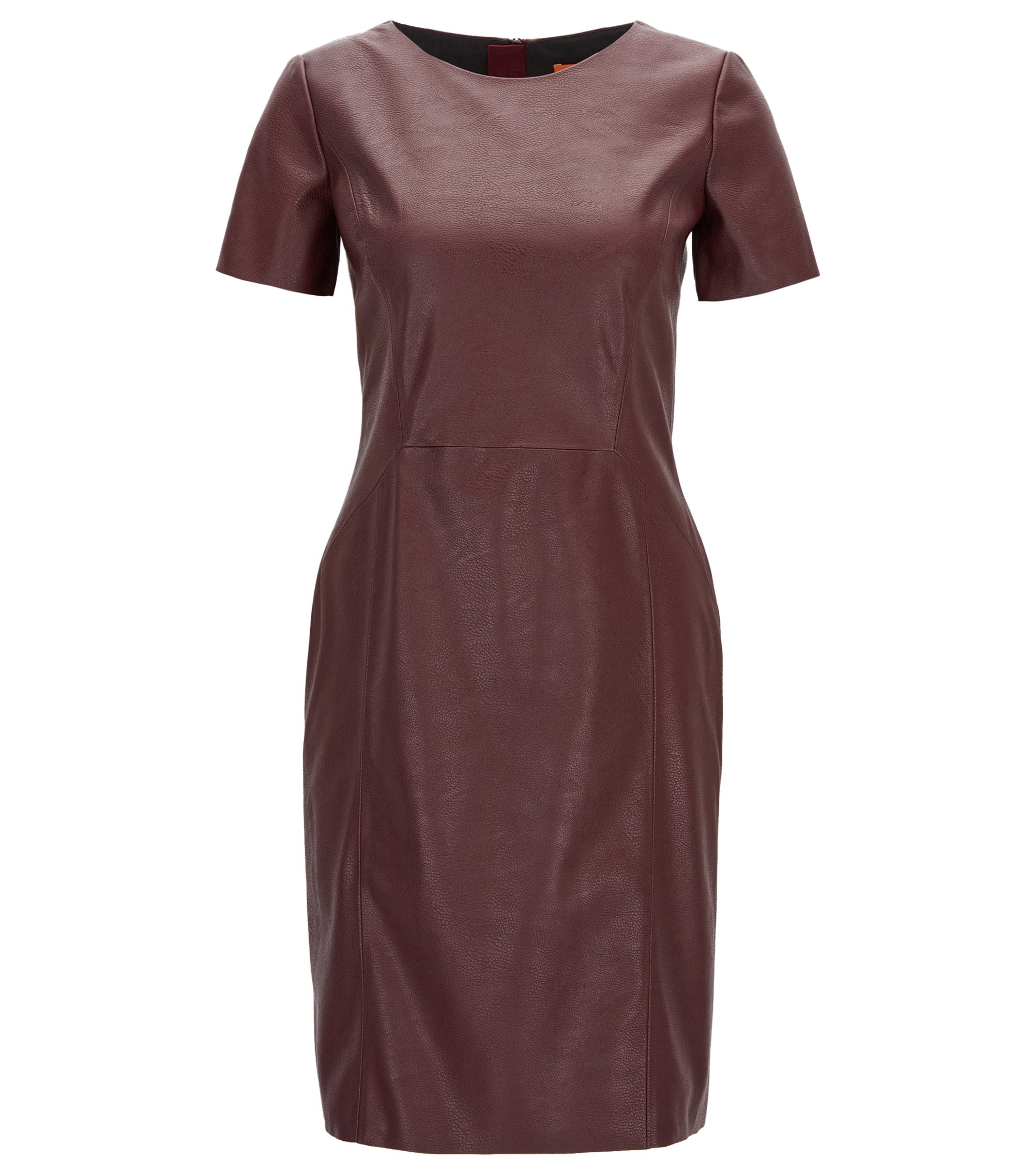 Faux Leather Sheath Dress   Aledy, Dark Red