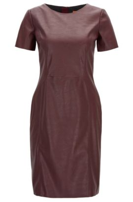 'Aledy' | Faux Leather Sheath Dress, Dark Red