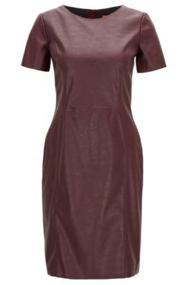 'Aledy' | Faux Leather Sheath Dress, Dark Red