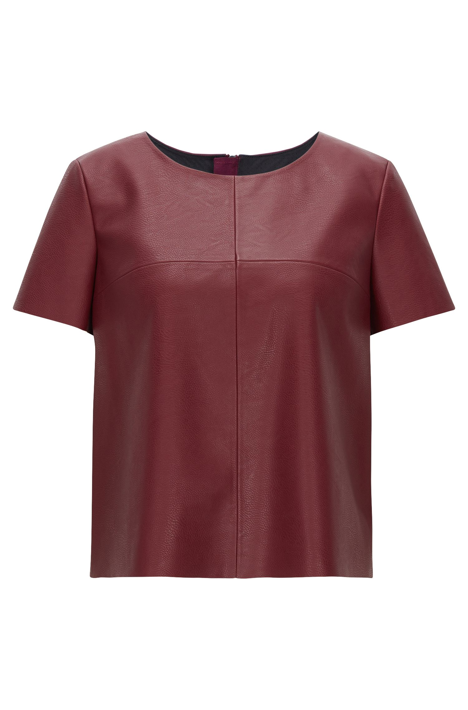Faux Leather Top | Kaledy, Dark Red