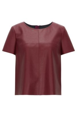 'Kaledy' | Faux Leather Top, Dark Red