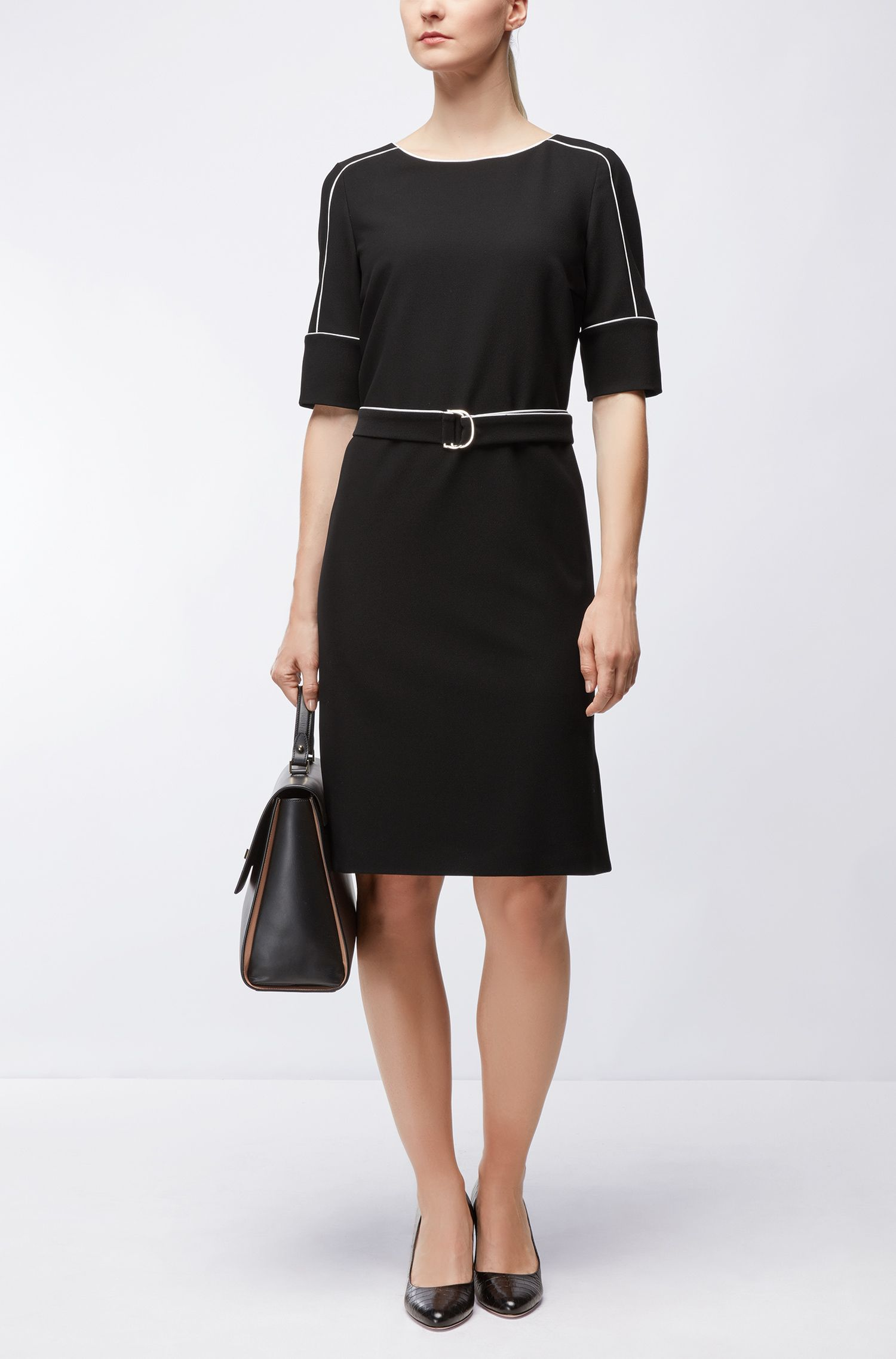 Piped Stretch Shift Dress | Duwimea