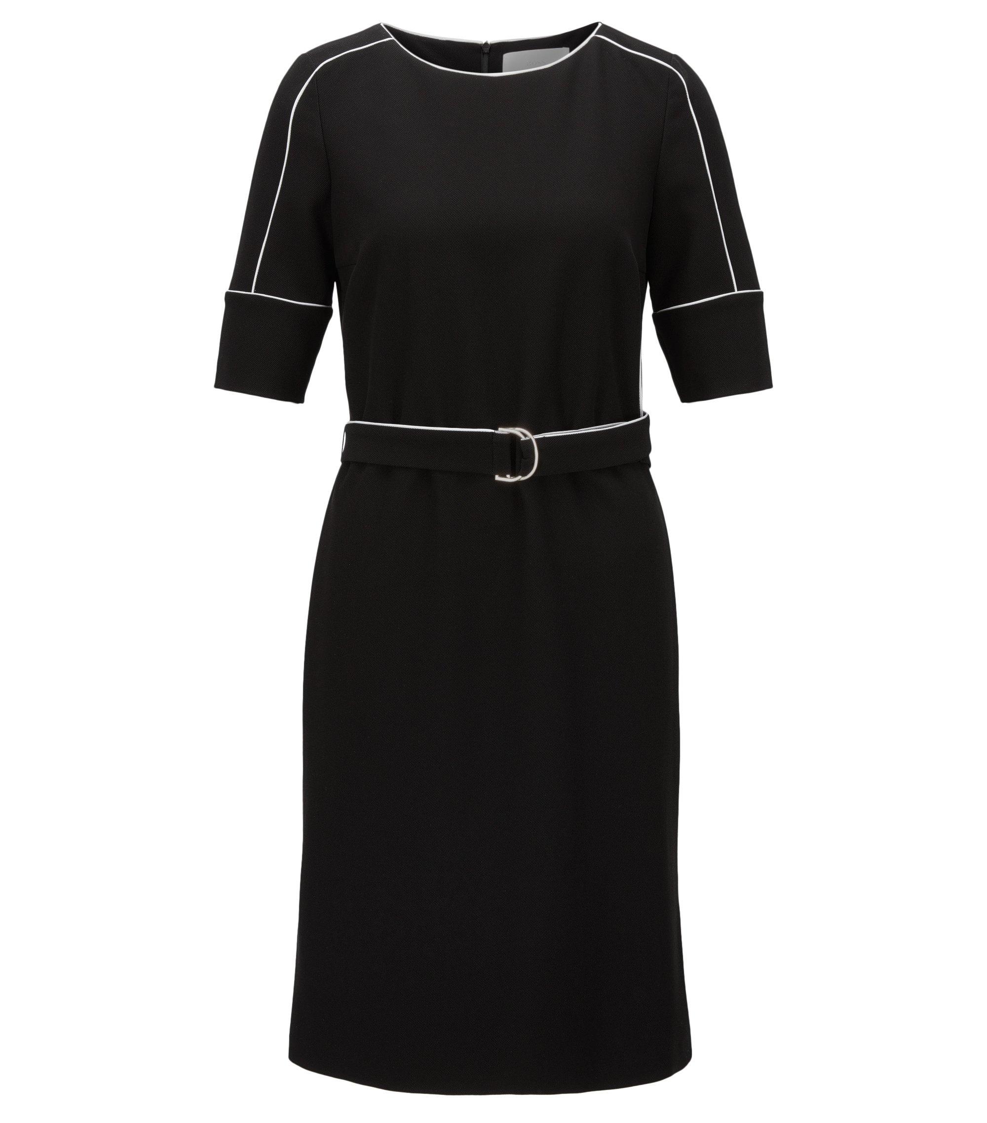 Piped Stretch Shift Dress | Duwimea, Black
