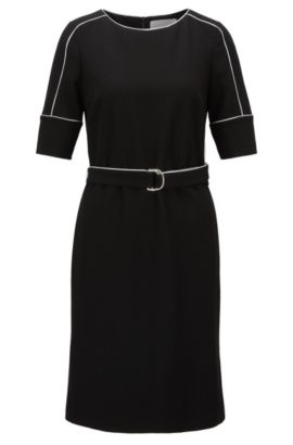 Piped Stretch Shift Dress | Duwimea, Black