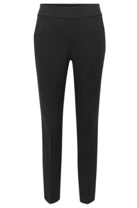 'Tonalia' | Stretch Viscose Cropped Tuxedo Pants, Black