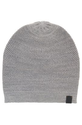 'Franek' | Wool Blend Knit Beanie, Light Grey