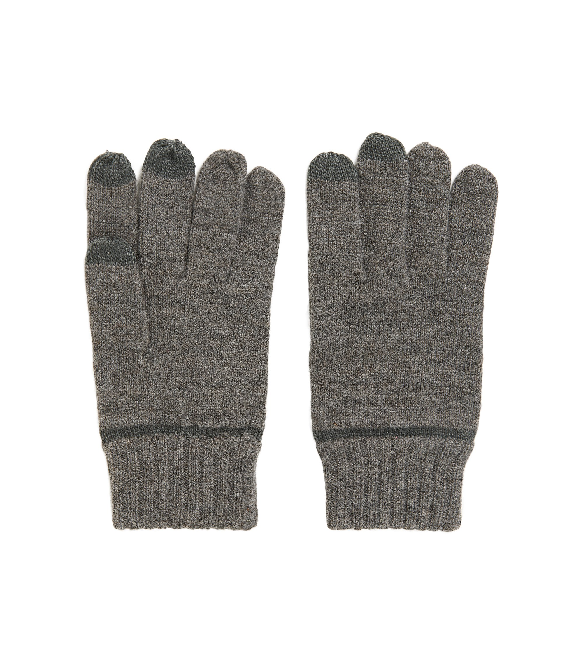 Virgin Wool Blend Tech Gloves | Graas, Light Grey