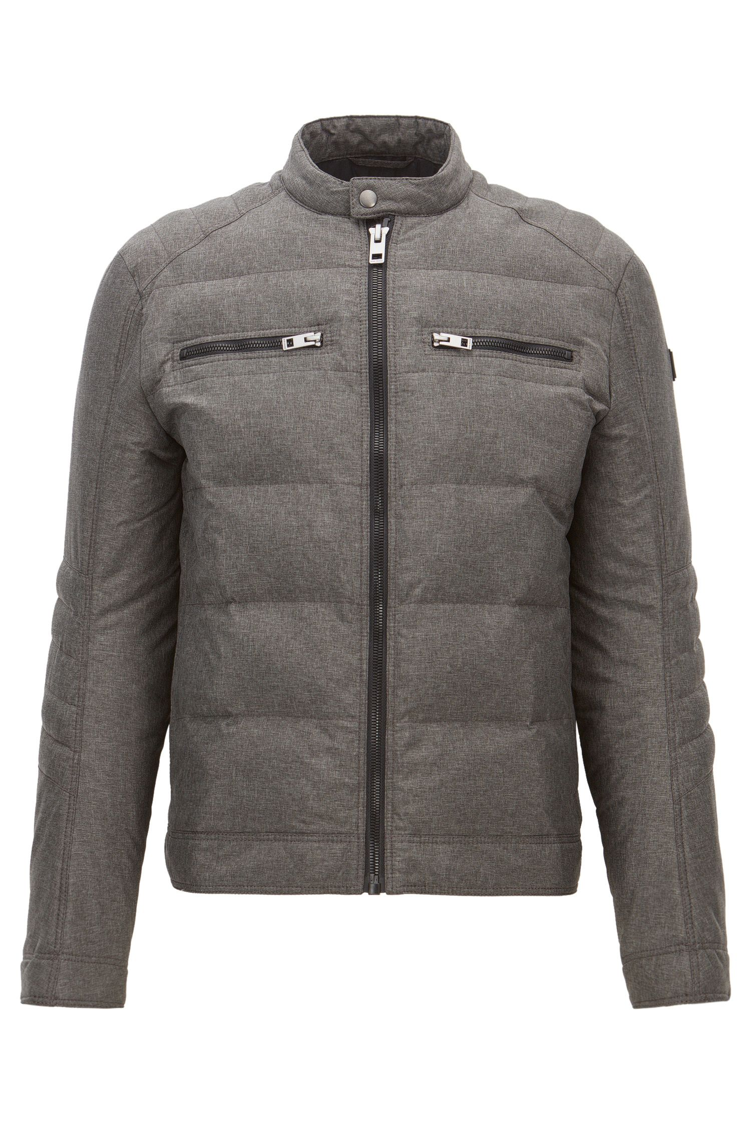 Stretch Quilted Biker Jacket | Oennis, Charcoal