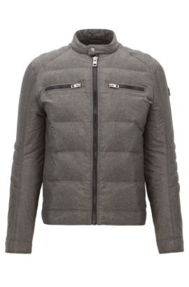 'Oennis' | Stretch Quilted Biker Jacket, Charcoal