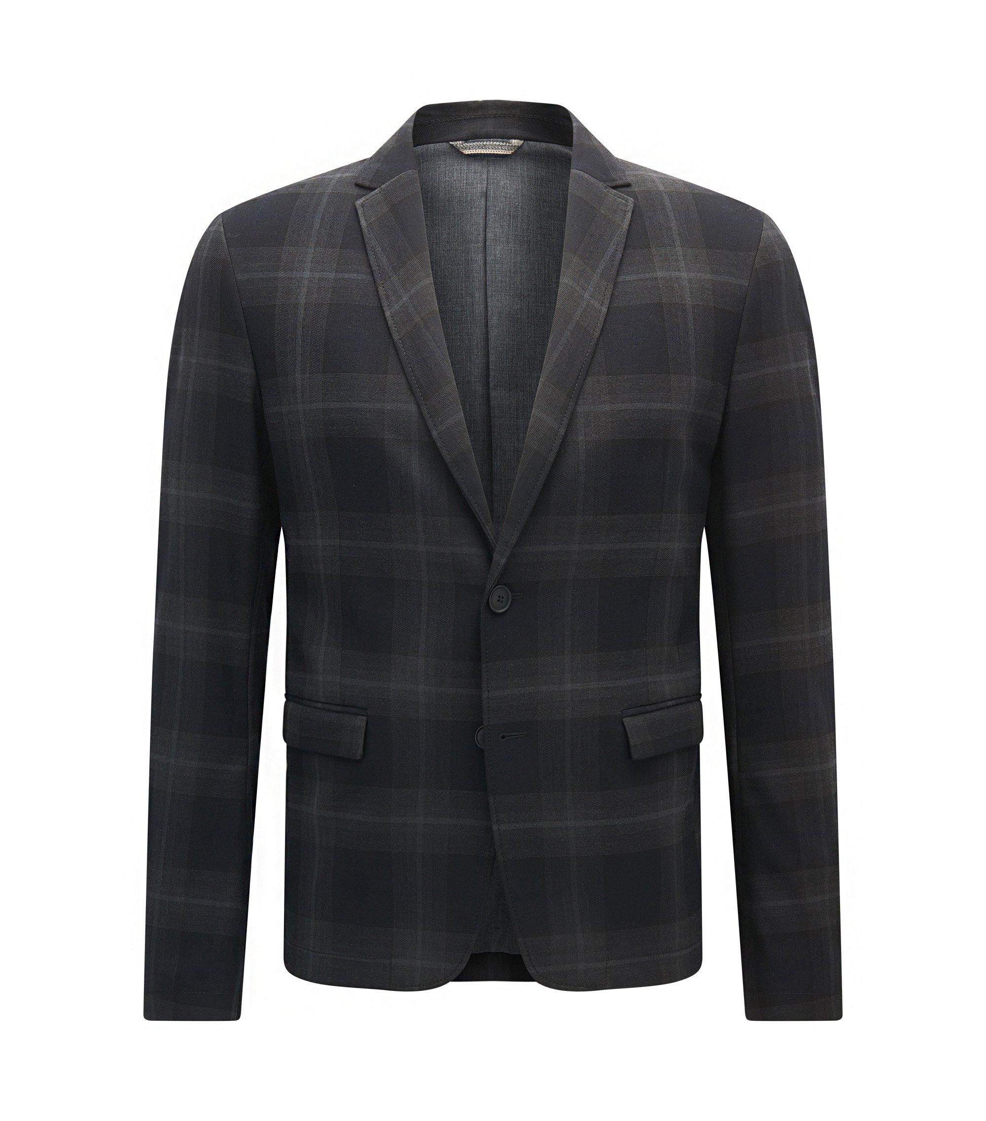 Plaid Twill Sport Coat, Slim Fit   Benestretch BS , Dark Blue
