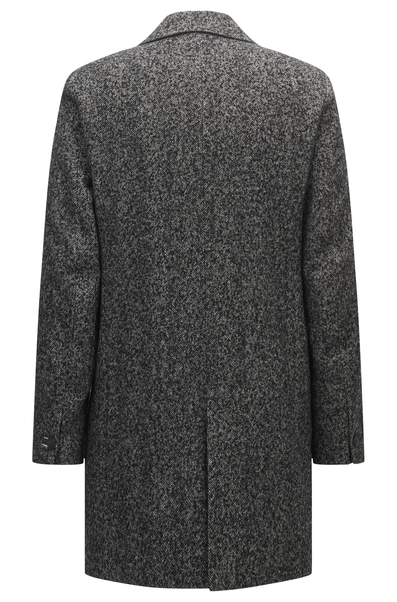 Herringbone Italian Wool Blend Coat | Bead, Black