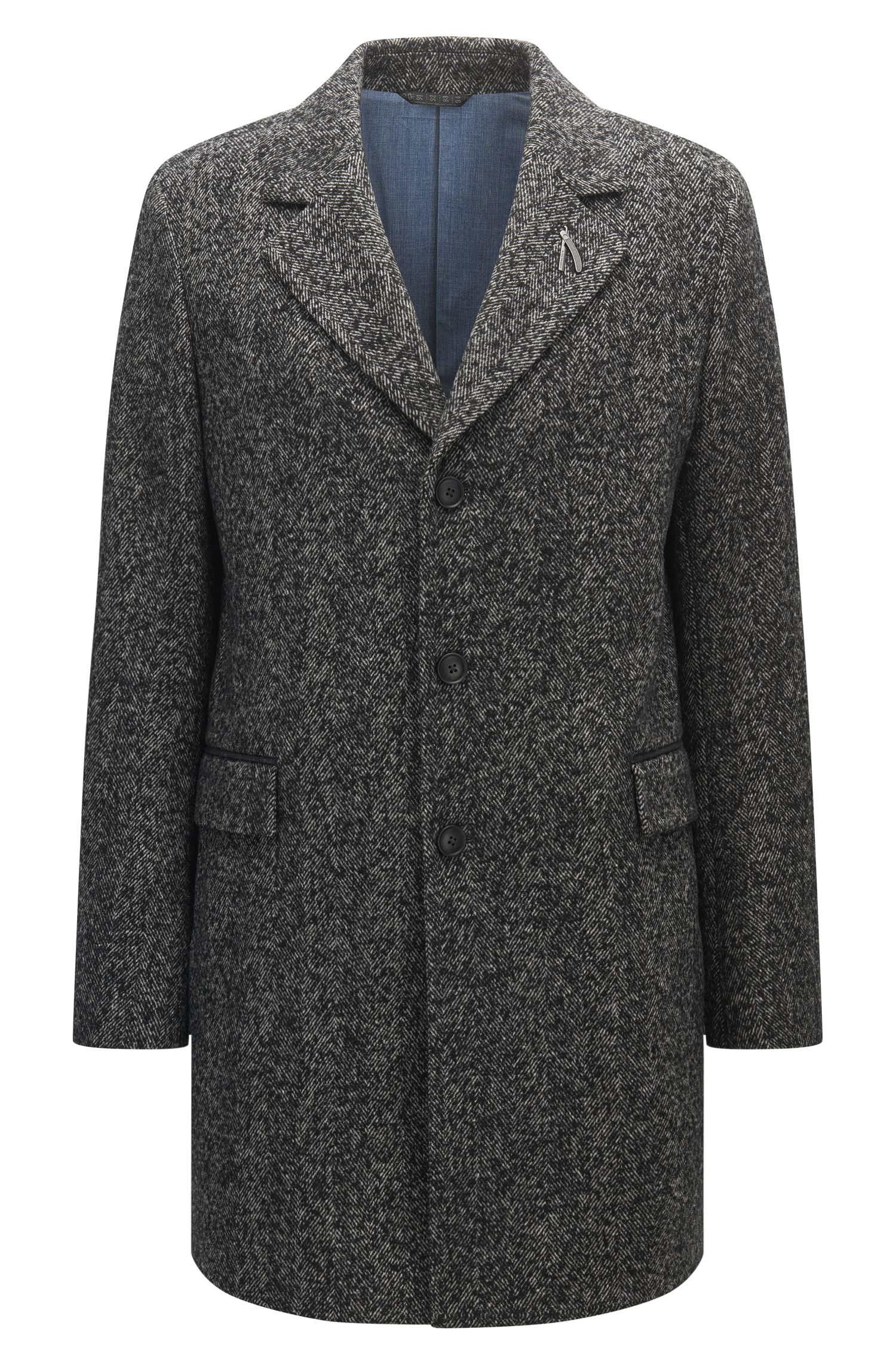 Herringbone Italian Wool Blend Coat | Bead