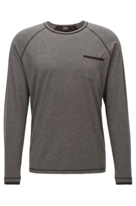 Stretch Cotton Jersey Shirt | LS Shirt RN, Charcoal