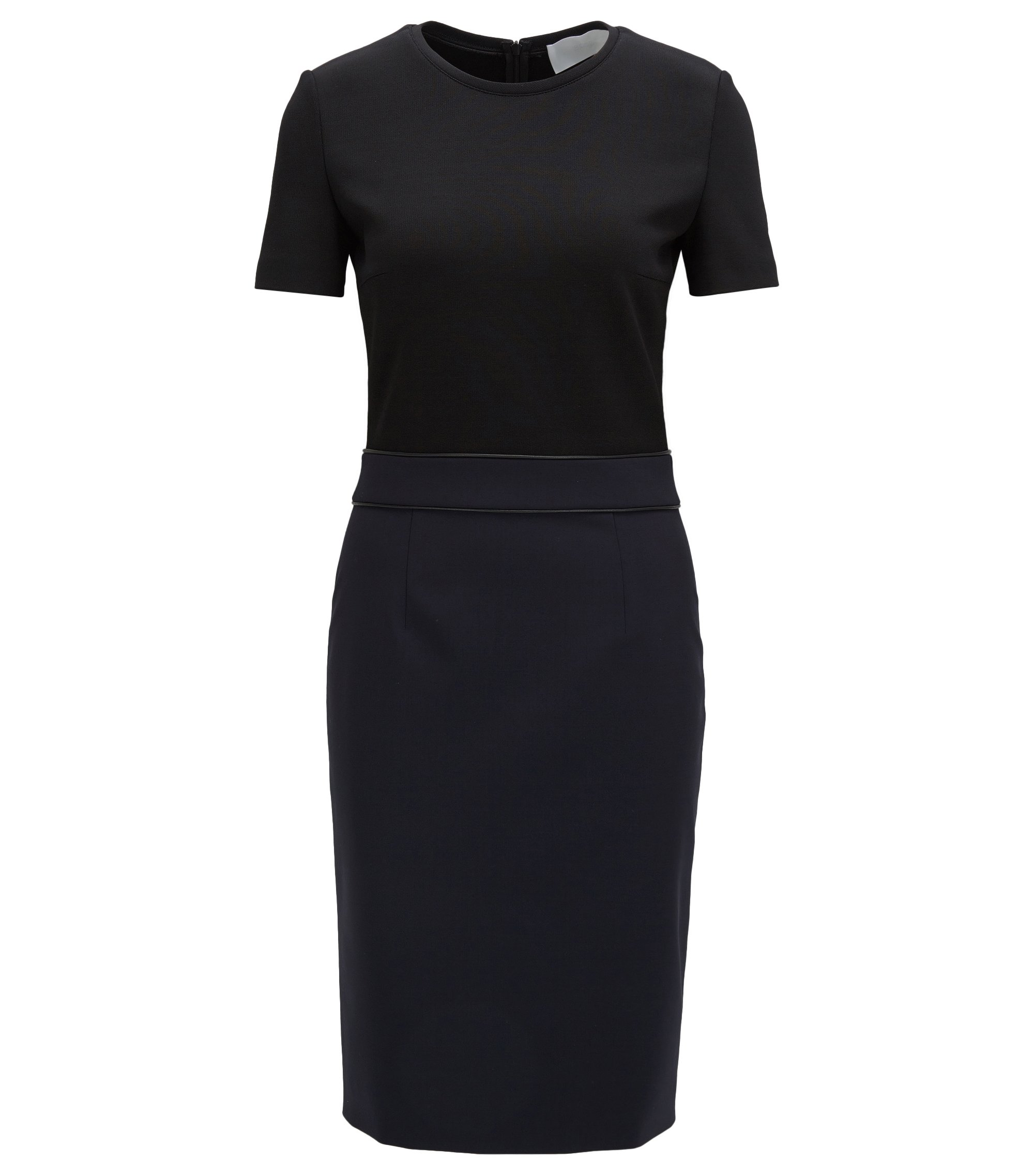 Stretch Virgin Wool Sheath Dress | Dualisa, Open Blue