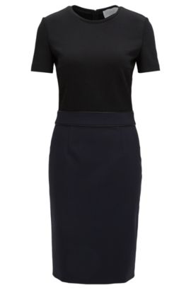 'Dualisa' | Stretch Virgin Wool Sheath Dress, Open Blue