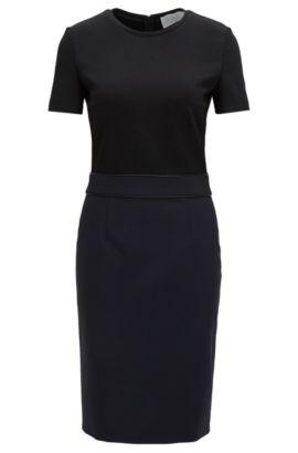 'Dualisa' | Stretch Virgin Wool Sheath Dress, Open Blue