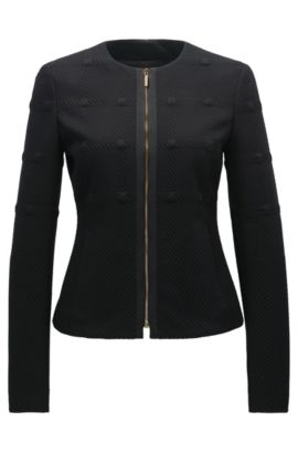 Windowpane Knit Jacket | Kanelli, Black