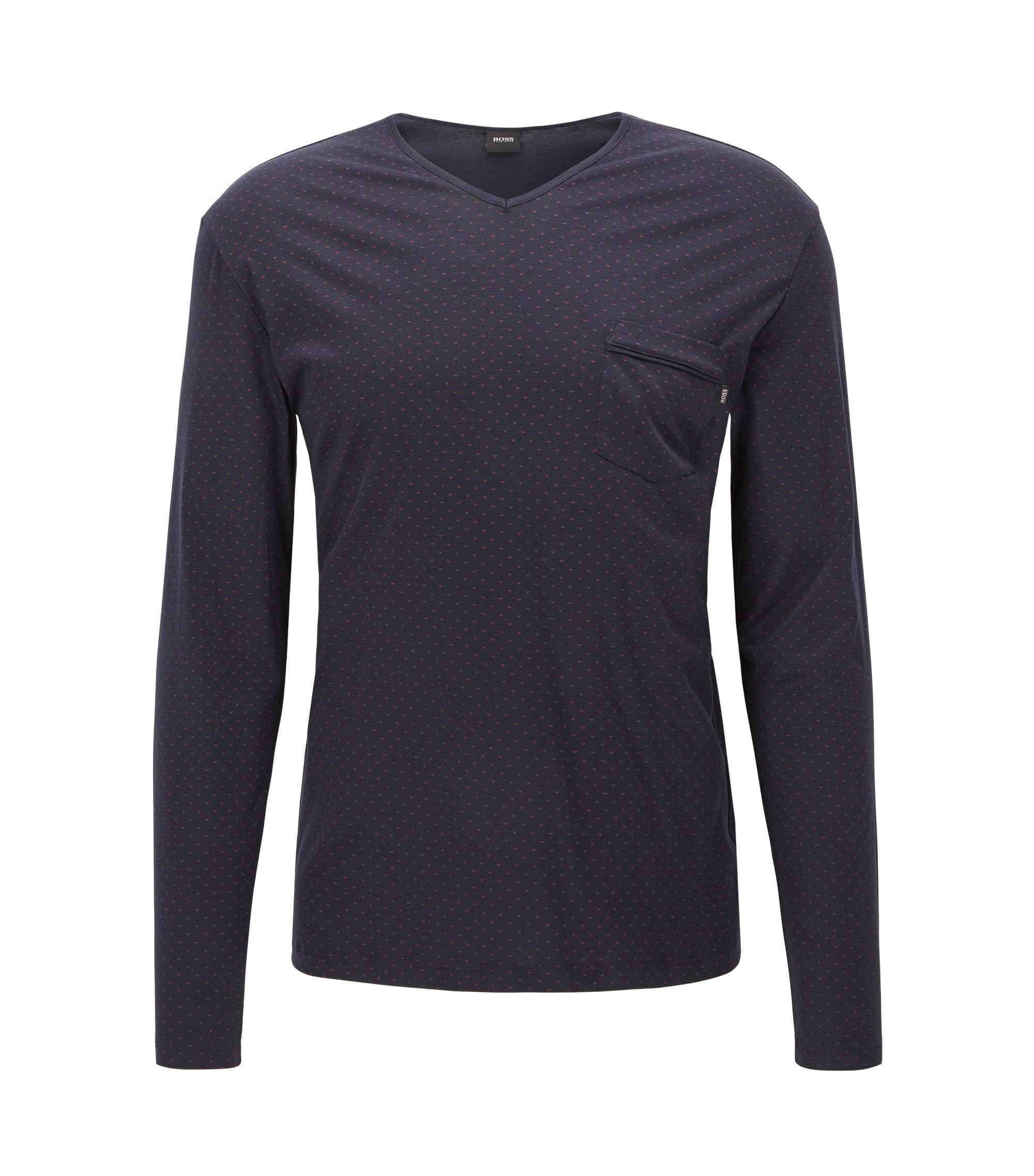 Geo-Print Stretch Jersey Long Sleeve T-Shirt | LS Shirt RN, Blue