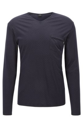 'LS Shirt RN' | Geo-Print Stretch Jerse Long Sleeve T-Shirt, Blue