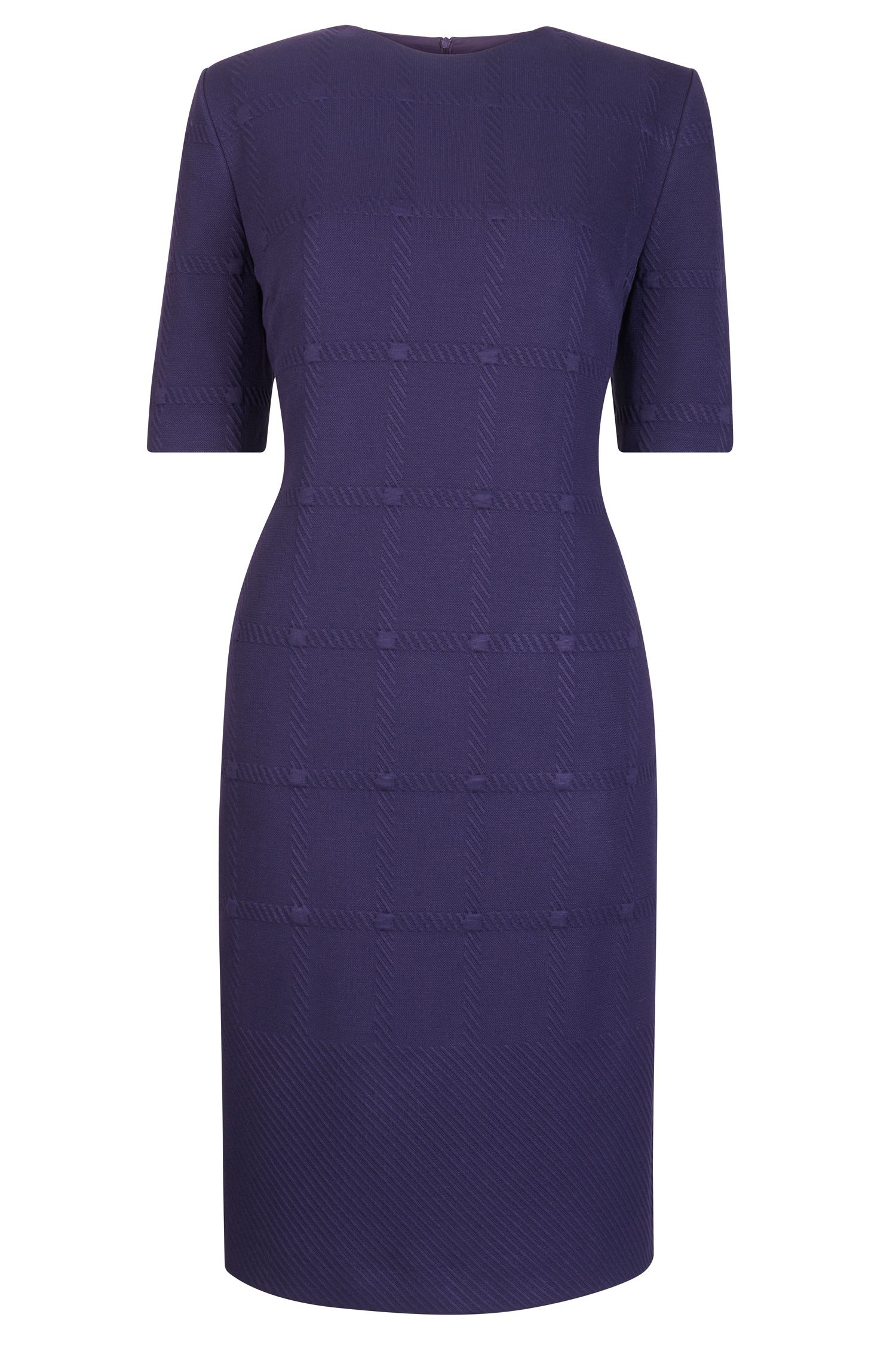 Tonal Check Stretch Sheath Dresss | Hanelli
