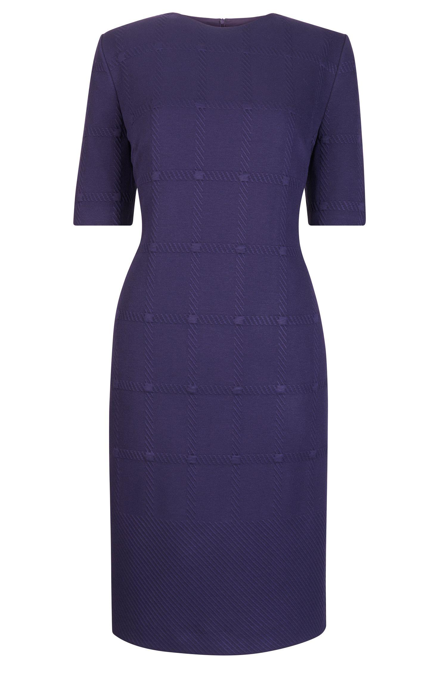 Tonal Check Stretch Sheath Dresss | Hanelli, Dark Purple
