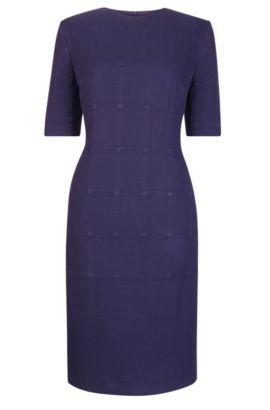 Tonal Check Stretch Sheath Dresss   Hanelli, Dark Purple