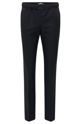 'Torana' | Pinstripe Stretch Virgin Wool Jogger Pants, Patterned