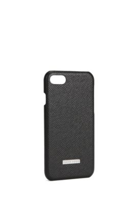 'Signature Phone 7' | Embossed leather iPhone 7 Case, Black