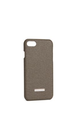'Signature Phone 7' | Embossed leather iPhone 7 Case, Dark Grey