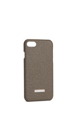 'Signature Phone 7' | Embossed leather iPhone 7 Case, Dark Grey