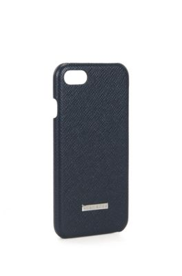Embossed leather iPhone 7 Case | Signature Phone 7, Dark Blue