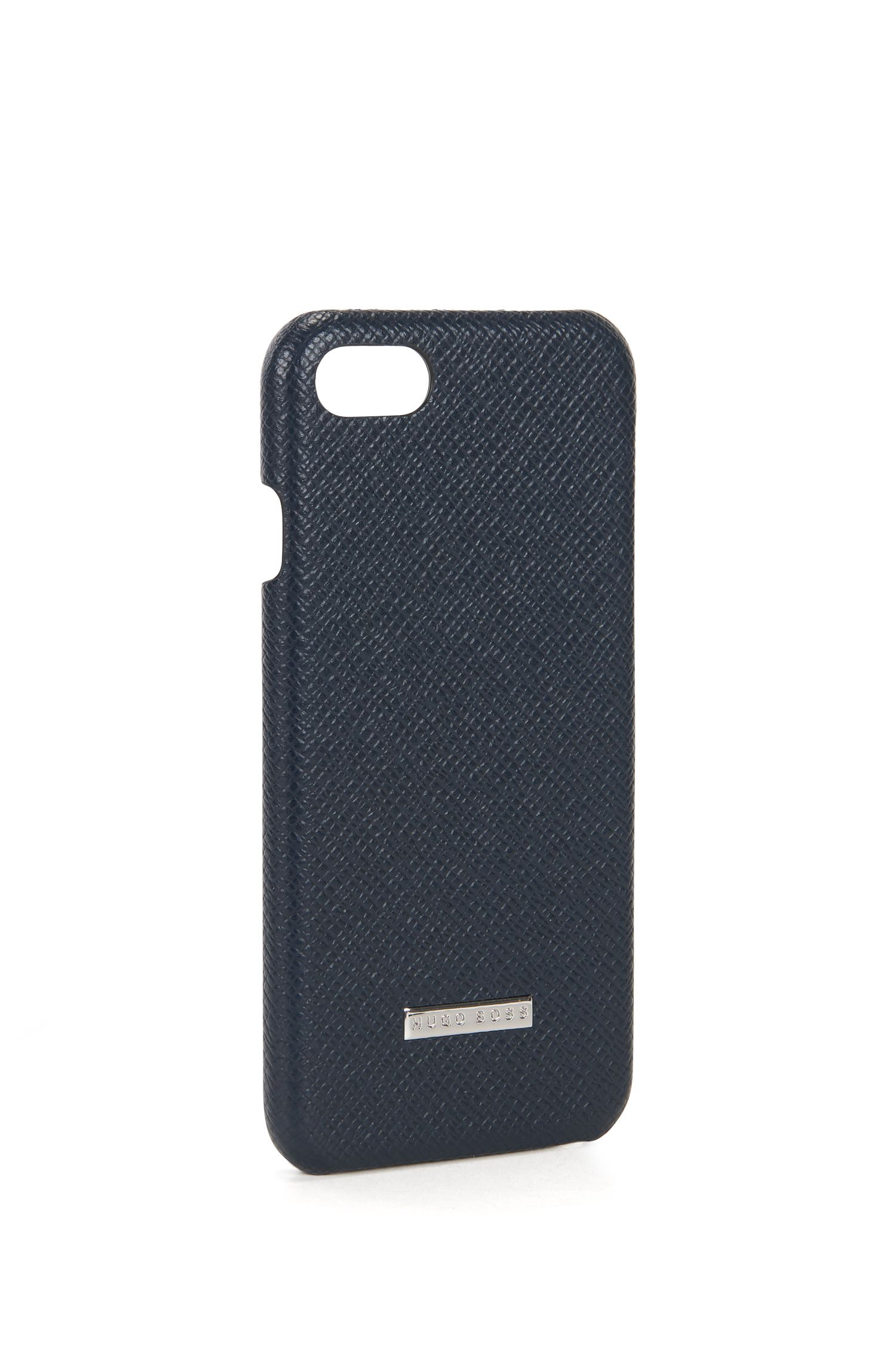 Embossed leather iPhone 7 Case | Signature Phone 7, Dark Blue