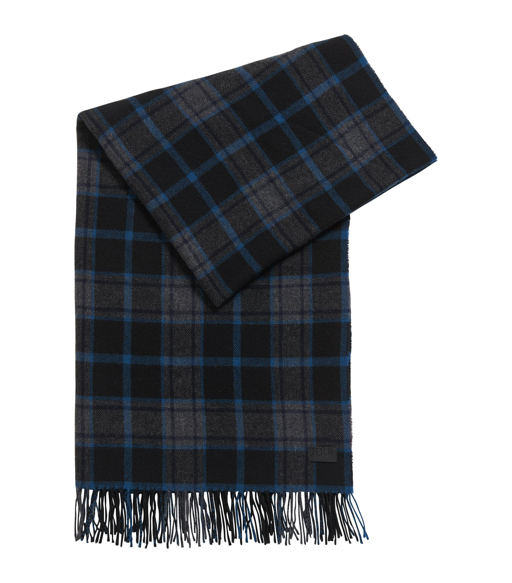 Plaid Wool Blend Scarf | Men Z, Dark Blue