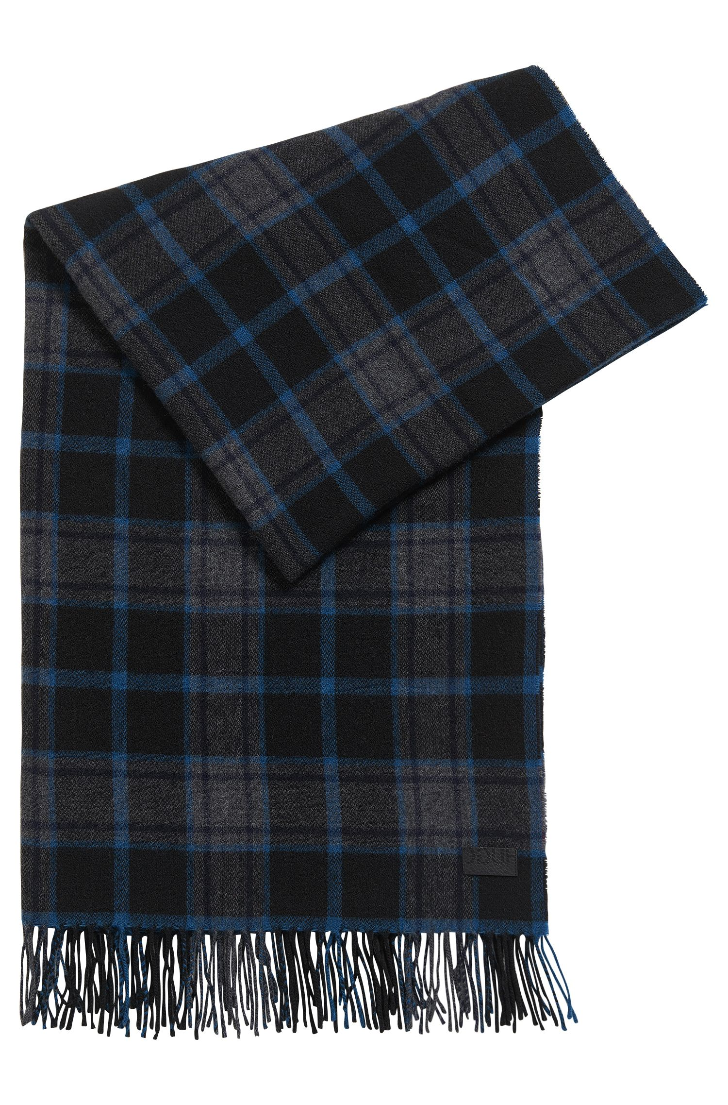 Plaid Wool Blend Scarf | Men Z, Dark Blue