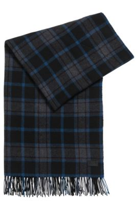 'Men Z' | Plaid Wool Blend Scarf, Dark Blue