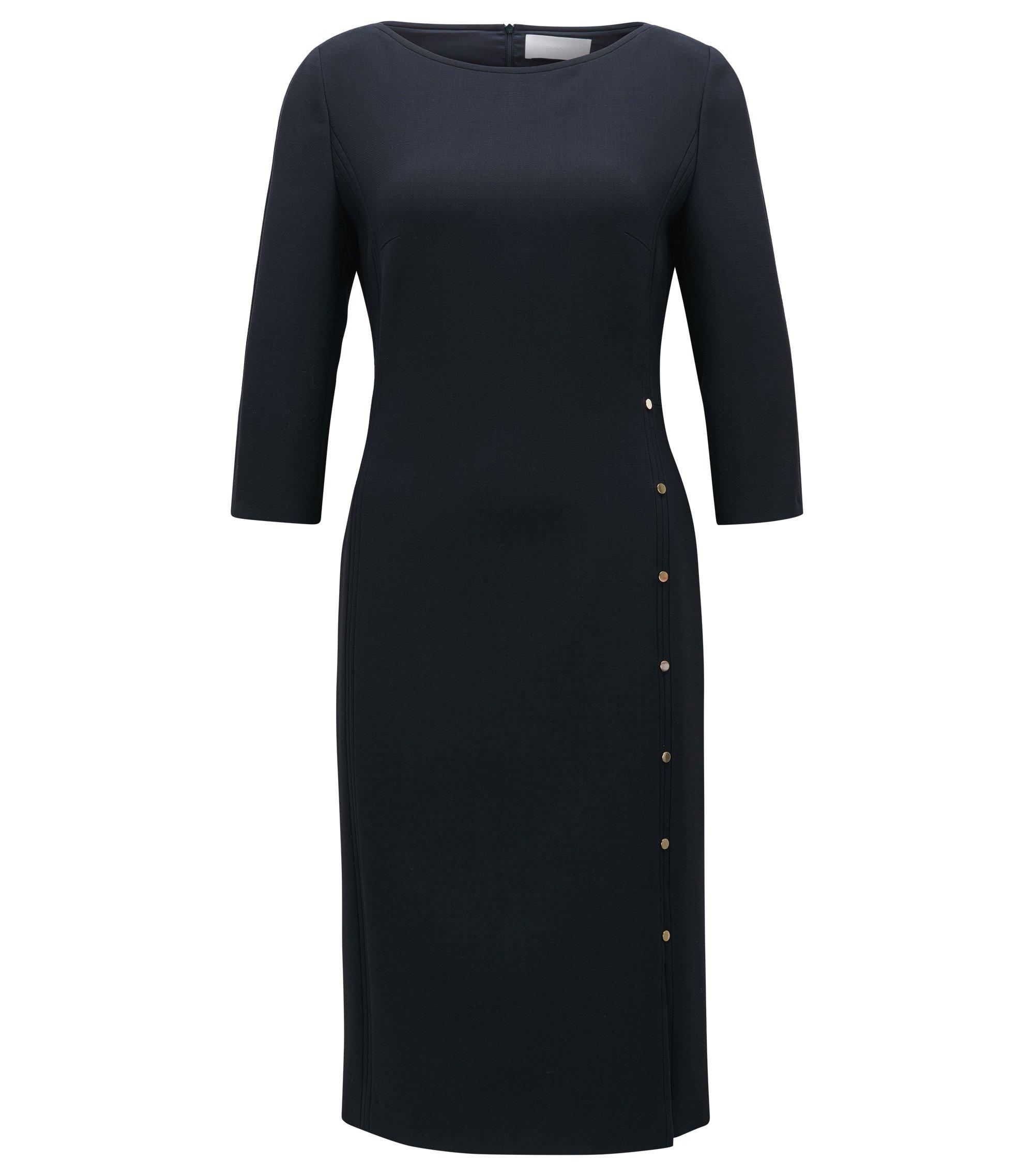 Virgin Wool Sheath Dress | Dikena, Open Blue