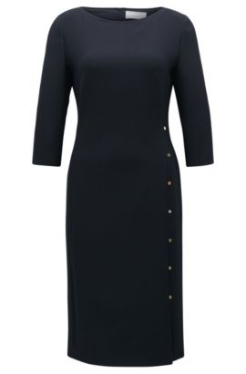 'Dikena' | Virgin Wool Sheath Dress, Open Blue