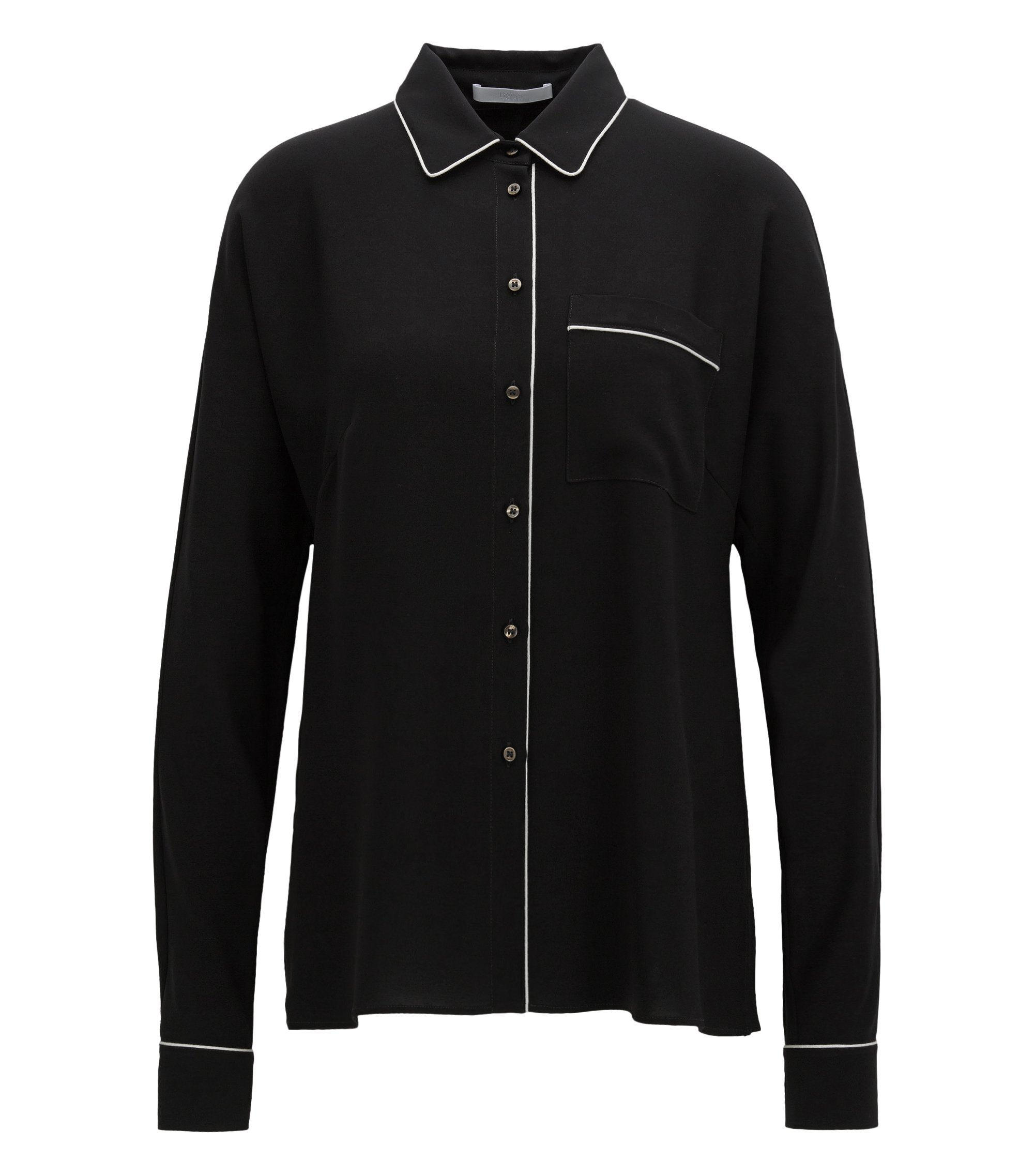 Piped Blouse | Benisa, Black