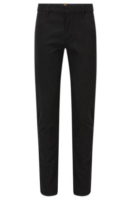 'Slim' | Slim Fit, Stretch Cotton Pants, Black