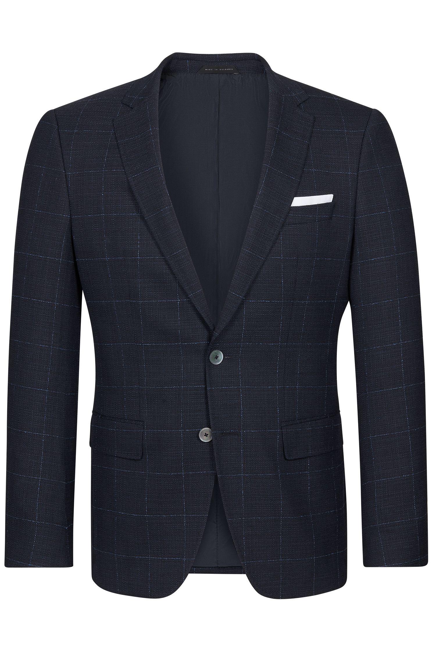 Windowpane Italian Stretch Virgin Wool Sport Coat, Slim Fit   Hutsons