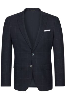 Windowpane Italian Stretch Virgin Wool Sport Coat, Slim Fit | Hutsons, Dark Blue
