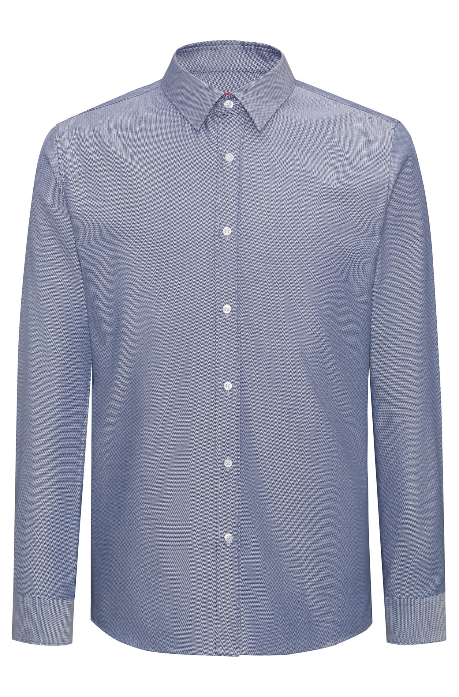 Herringbone Dress Shirt, Extra Slim Fit | Elisha, Dark Blue