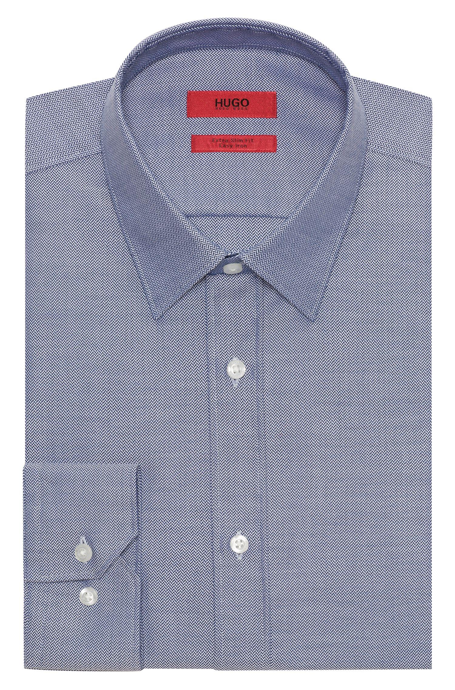 Herringbone Dress Shirt, Extra Slim Fit | Elisha, Dark Blue