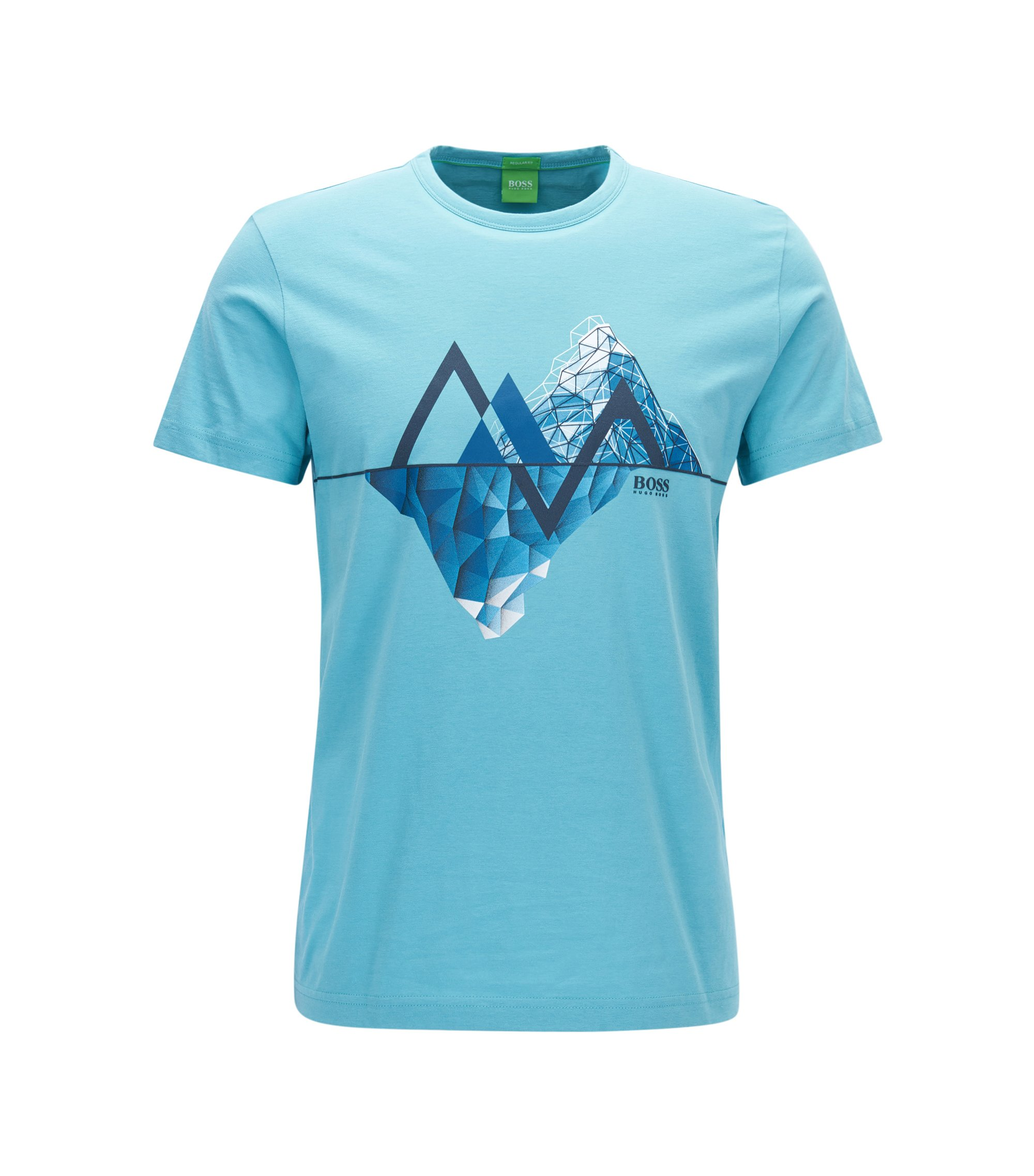 Cotton Graphic T-Shirt   Tee, Open Blue