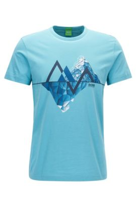 Cotton Graphic T-Shirt | Tee, Open Blue