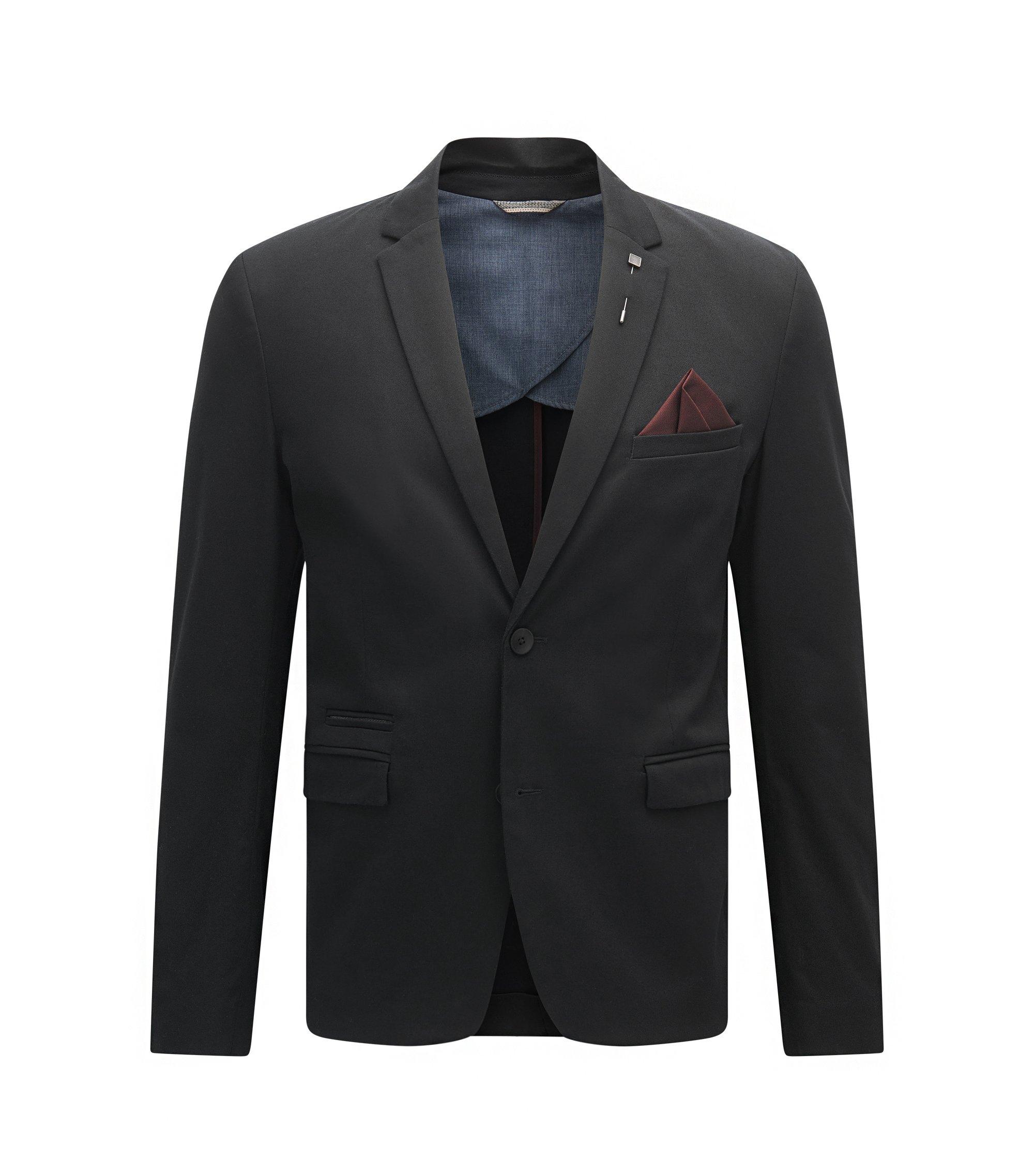 Stretch Cotton Sport Coat, Slim Fit   Beric, Black